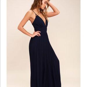LULU'S Depths Of My Love Navy Pleated Maxi Dress